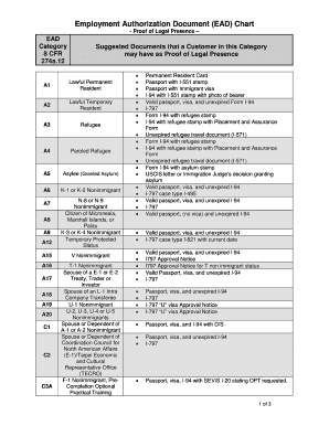 employment authorization document chart form