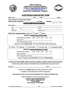 electrician exam retest form 2007