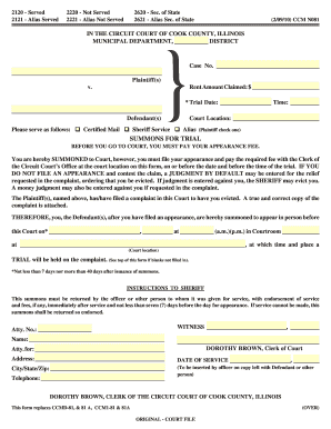 cook county municipal summons this form replaces ccmd 81