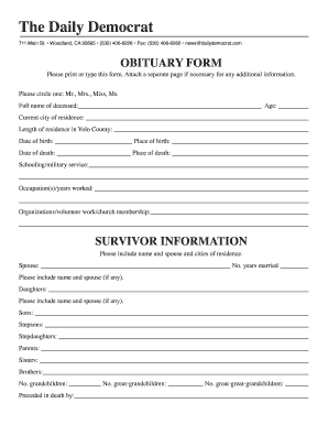 Obituary Example Forms and Templates - Fillable & Printable ...