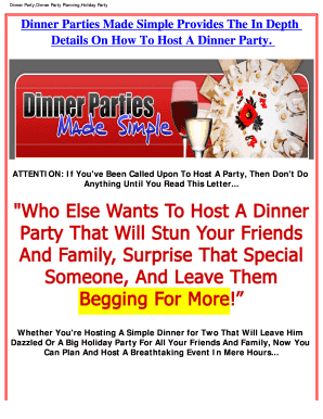 dinner party planner forms