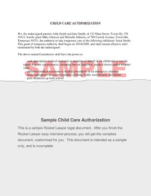 Fillable Child Care Authorization - Fill Online, Printable