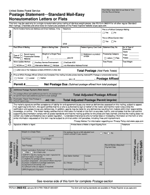 fillable postage statement standard mail form
