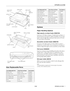 Array - parts guide epson lq 2180   fill online printable fillable blank      rh   pdffiller com