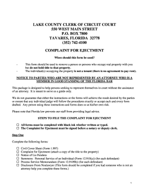 florida ejectment form