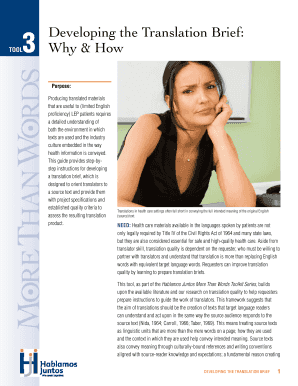 Developing The Translation Brief: Why & How Tool - Hablamos Juntos - hablamosjuntos