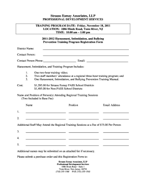 strauss esmays 2011 2012 harassment intimidation and bullying preventiontraining program form