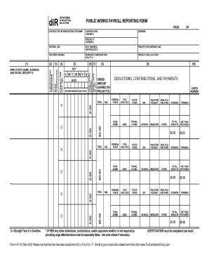 public works payroll reporting form - Certified Payroll Form