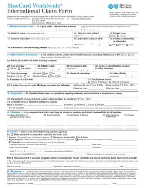 Blue Cross Blue Shield International Medical Claim Form Templates ...