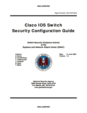 switch guide version101pdf fill online printable fillable blank rh pdffiller com cisco ios switch security configuration guide nsa Setup Cisco Switch