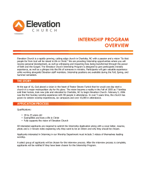 application format elevation internship