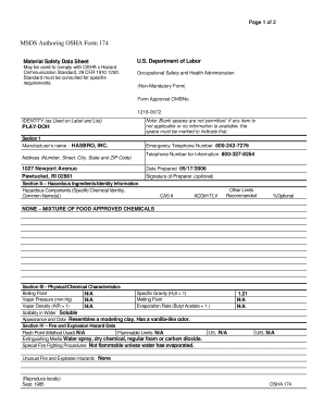 editable form 174 material safety data sheet form