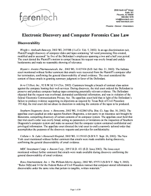 electronic discovery and computer forensic case law forentech