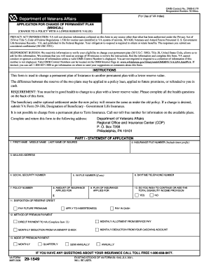 VA Form 29-1549 - Veterans Benefits Administration - vba va