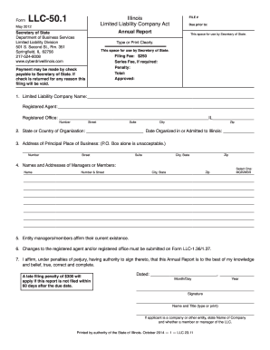 2011 Form IL LLC-50.1 Fill Online, Printable, Fillable, Blank - PDFfiller