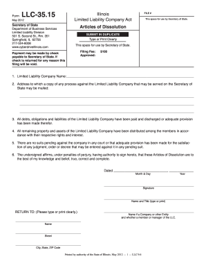 Llc 35 15 Articles Of Dissolution - Fill Online, Printable ...