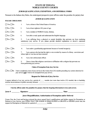 noble county indiana homestead exemption proof form