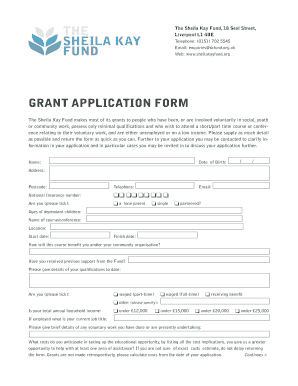 GRANT APPLICATION FORM - The Sheila Kay Fund - sheilakayfund