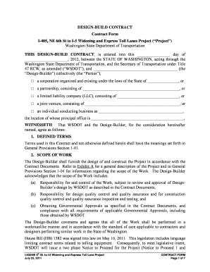 Fillable Online wsdot wa DESIGN-BUILD CONTRACT Contract Form I-405