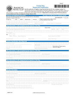 2014-2017 Form AKC Foreign Dog Registration Application Fill ...