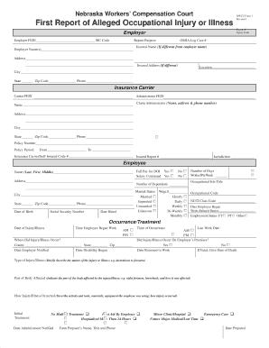 Nebraska First Report Of Injury Fill In - Fill Online, Printable ...