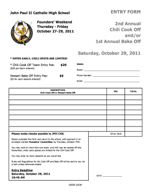 chili cook off forms