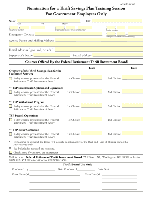 Thrift Savings Plan Training Courses Nomination Form (Uniformed ... - tsp