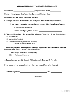 Home Health Medicare Secondary Payer Questionnaire Form - Fill ...