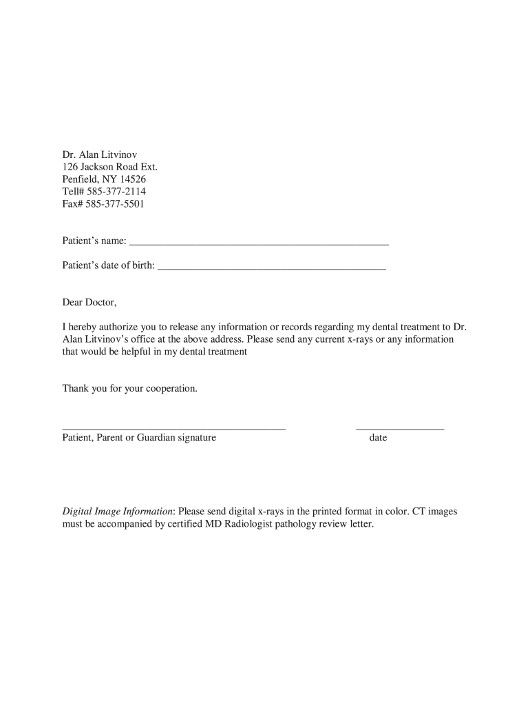 Dental Records Release Form Template   Fill Online, Printable, Fillable,  Blank   pdfFiller