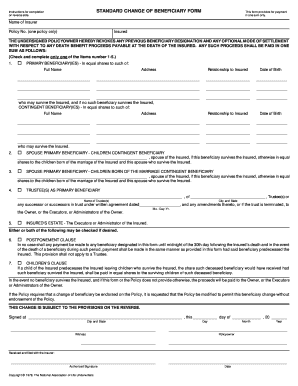 Travelers Change Of Beneficiary Form - Fill Online, Printable ...