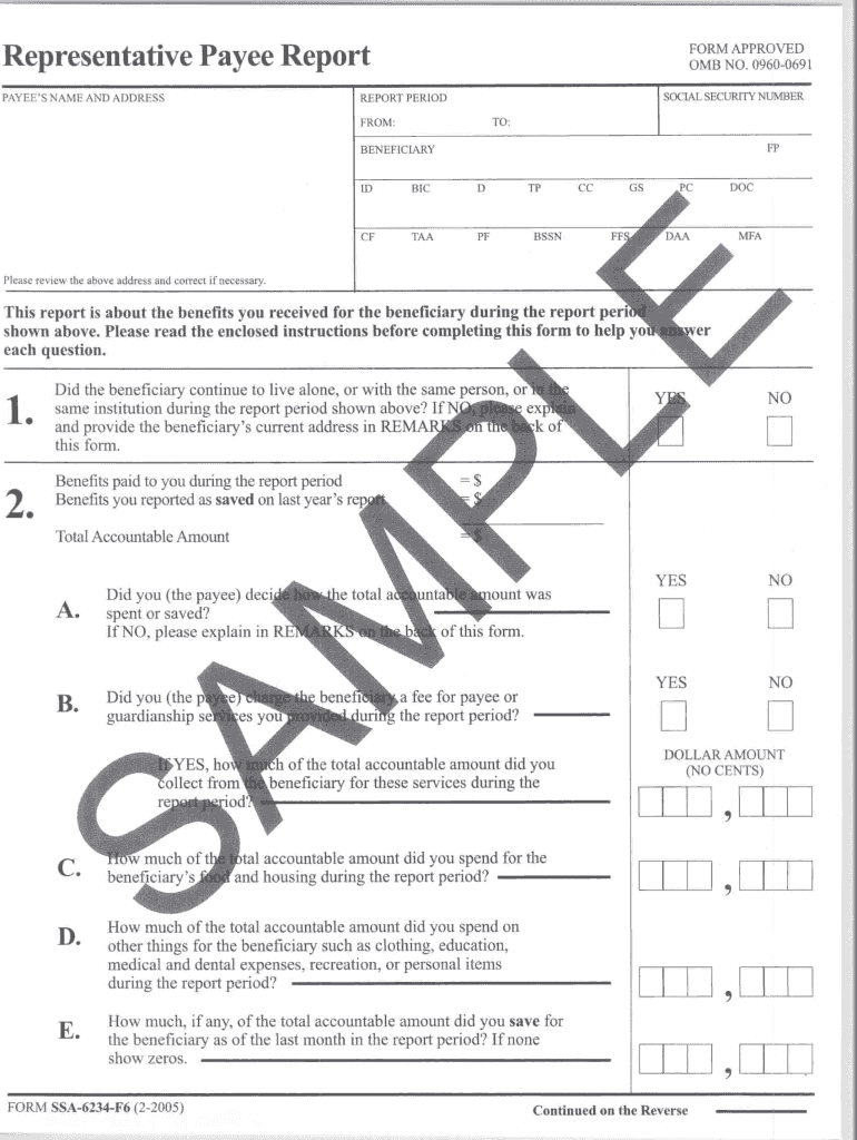 Representative Payee Report Form Fill Online Printable Fillable Blank Pdffiller Pdffiller