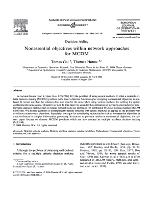 nonessential objectives within network approaches for mcdm