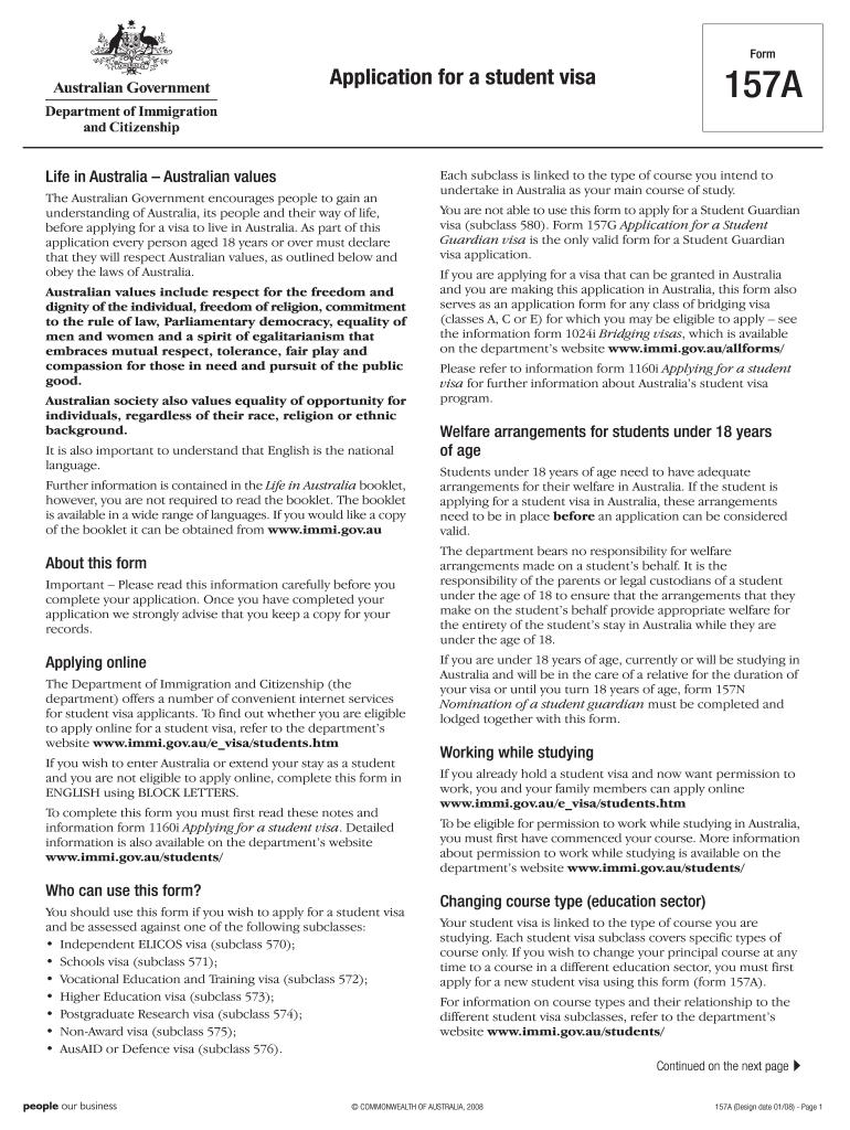 Kết quả hình ảnh cho application form for student visa in australia