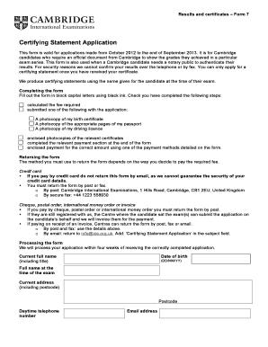 Certifying Statement Cambridge - Fill Online, Printable ...