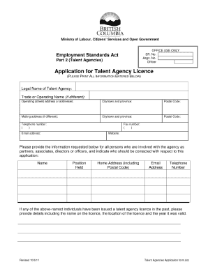 texas talent agency registration form fee