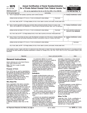 Form 5578 (Rev. April 2009). Annual Certificate of Racial Nondiscrimination for a Private School Exempt From Federal Income Tax