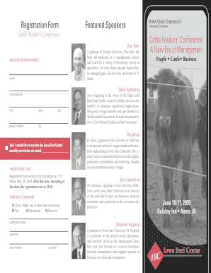 Registration Form Featured Speakers Cattle Feeders' Conference : A ... - iowabeefcenter
