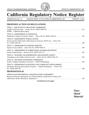 California Regulatory Notice Register 2010, Volume No. 7-z - oal ca