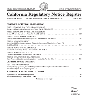 California Regulatory Notice Register 2006, Volume No. 24-Z - oal ca
