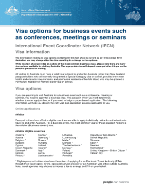 visa options for business events form