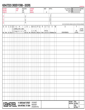deansteel stock order forms