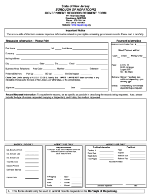 opra request forms for hopatcong borough new jersey