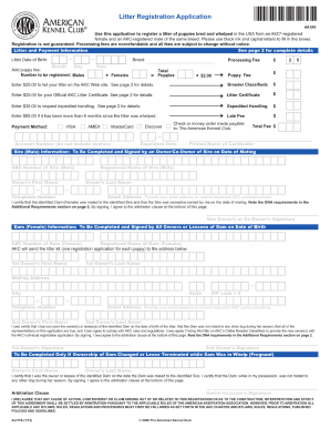 akc litter registration form