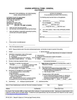 BE- 402 : Request for Approval of CLE Activity - CLE Form 2 - wicourts