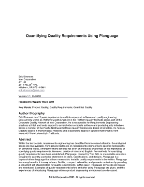 Quantifying Quality Requirements Using Planguage