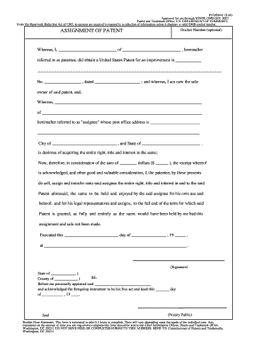 omb patent assignment form