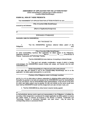 assignment of application for united states letters patent form