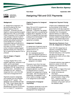 assigning fsa and ccc payments