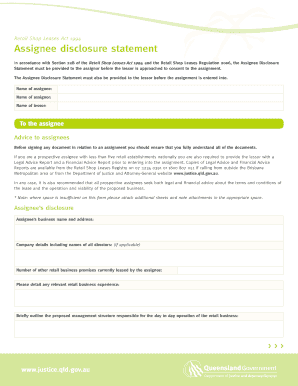 assignee disclosure statement form