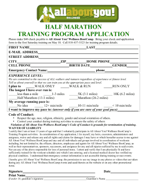 marathon training schedule form